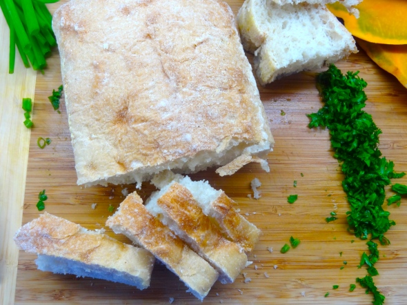 slicing ciabatta