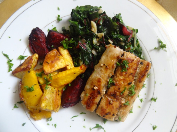 mahi mahi, swiss chard & roasted vegetables