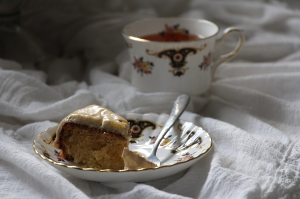 guava cake slice with tea-side