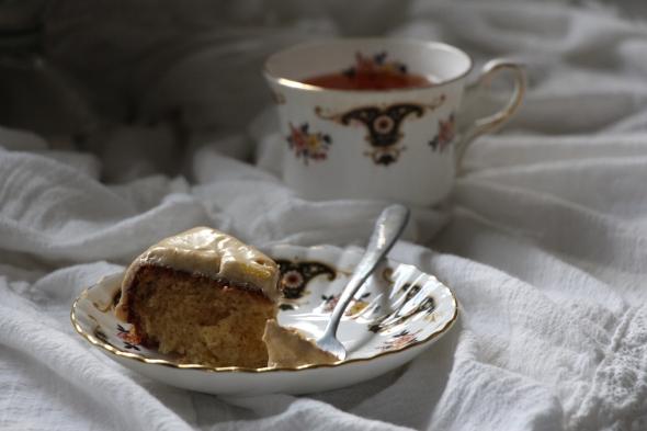 guava cake slice with tea-side