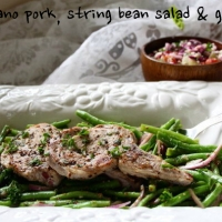 grilled oregano pork, string bean salad & greek salad